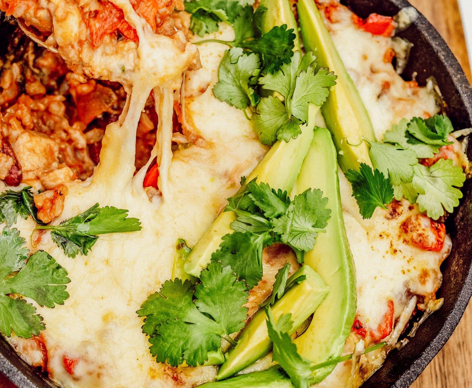 Ostegratinerede mexicanske ris