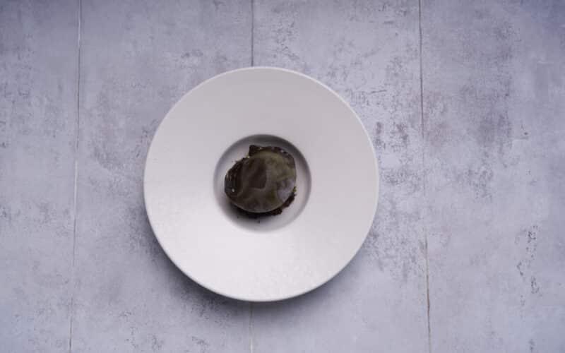 Opskrift på ostedessert fra Brace: Skum af Høgelundgaard 12 med sort hvidløg og flamberet blomme